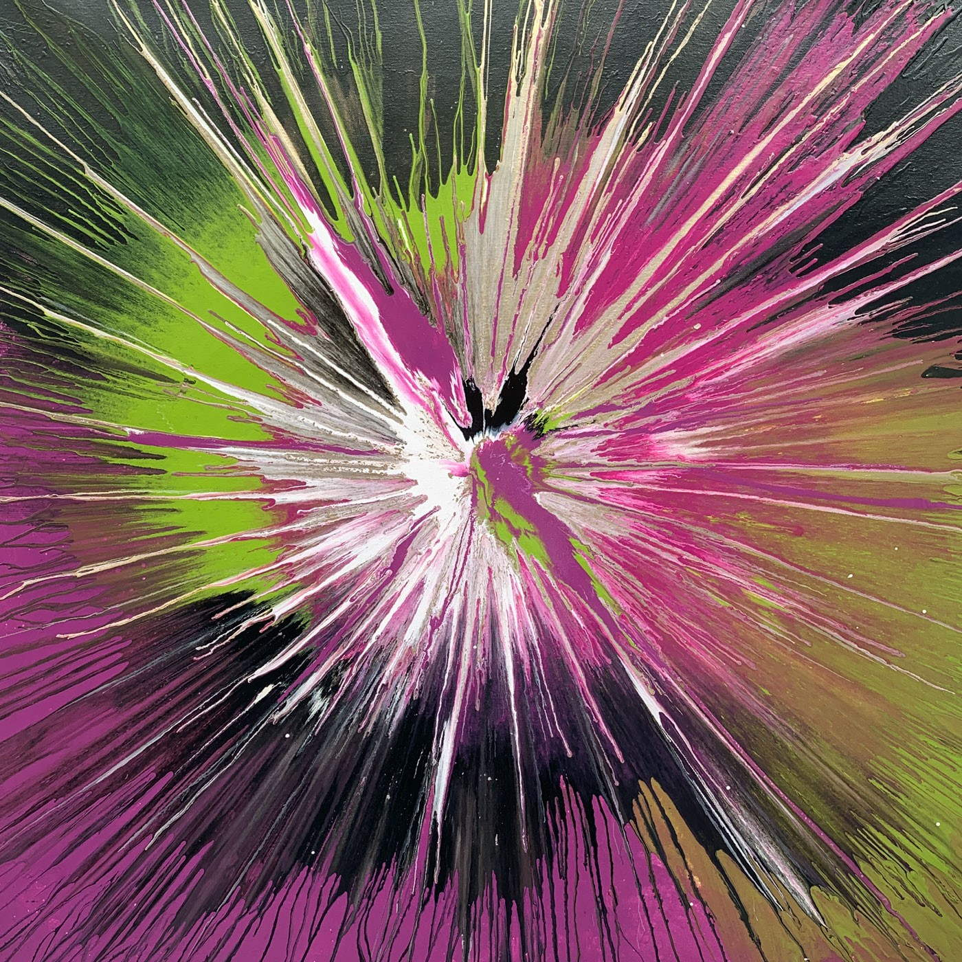 Expulsis pink and green painting by Swarez