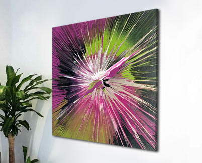 green and pink painting