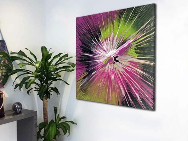lime green and bright pink modern art