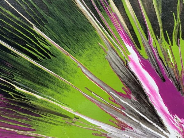 pink and green abstract painting details