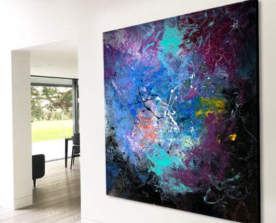 large modern art painting in a room