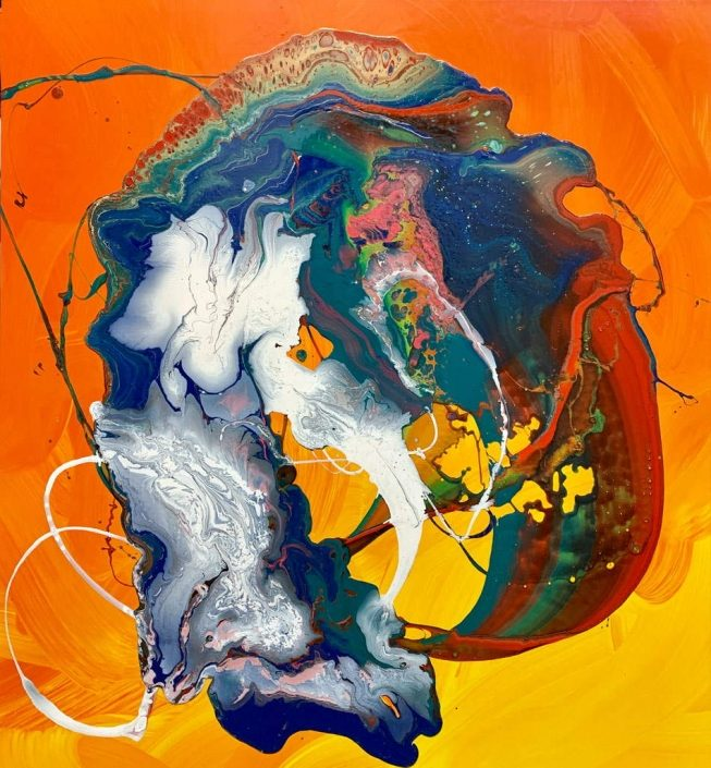 yellow and orange abstract painting