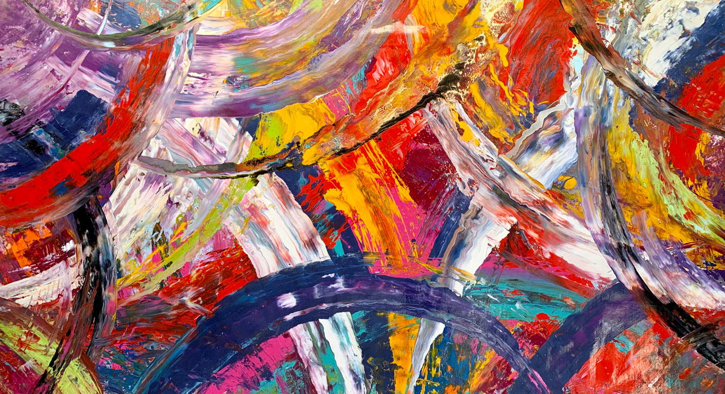 Large colourful abstract painting called Rangwali Holi