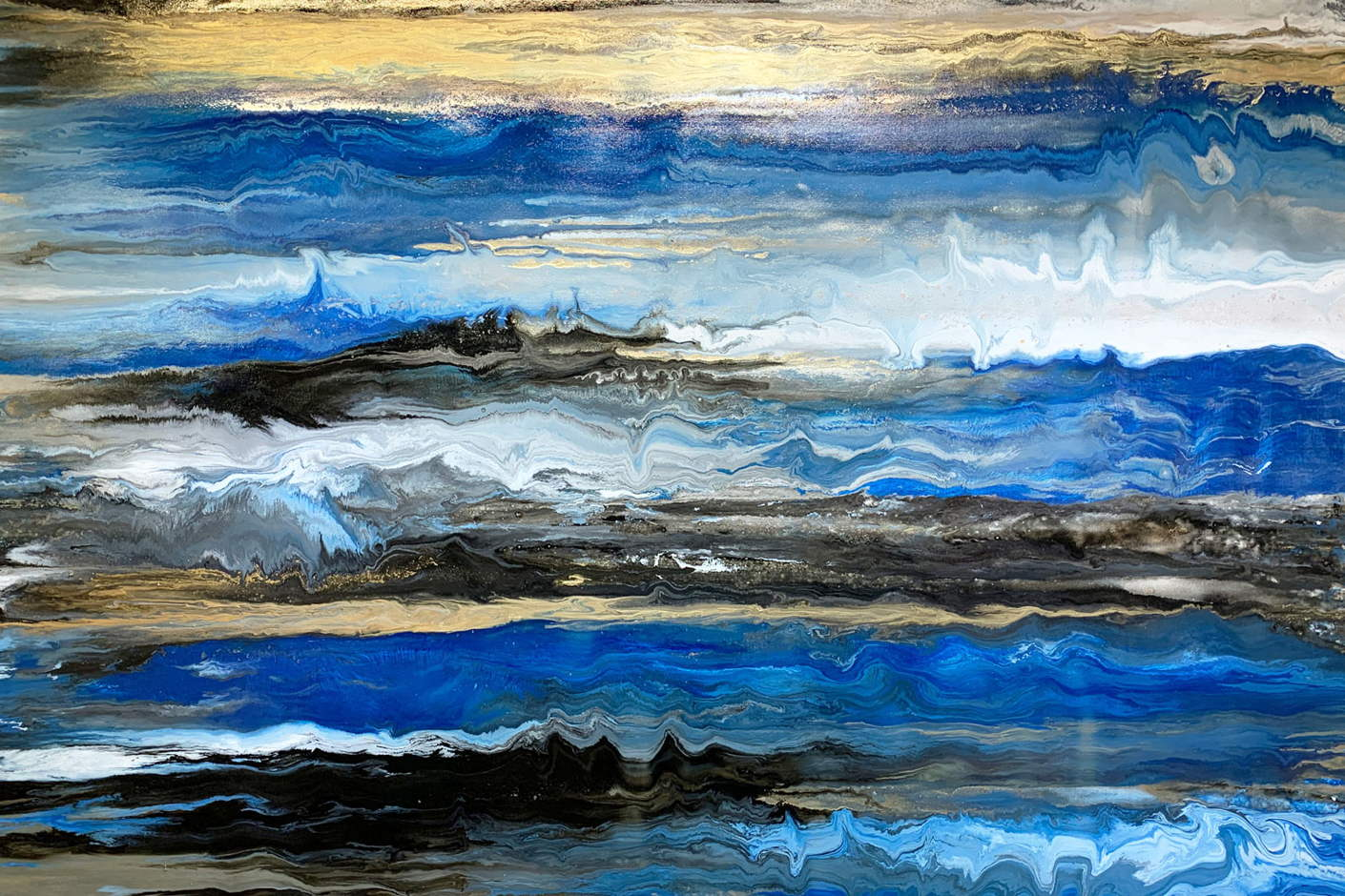 Rising Tides blue and gold art by Swarez