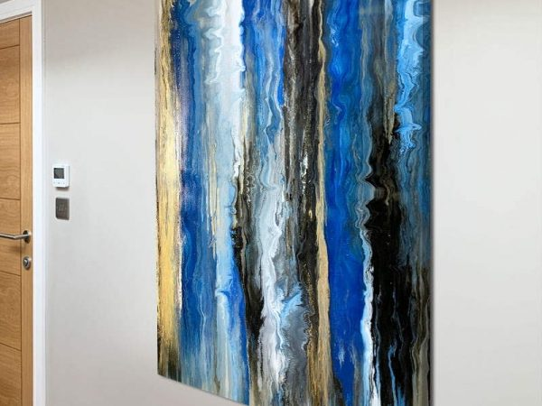 blue and gold abstract art
