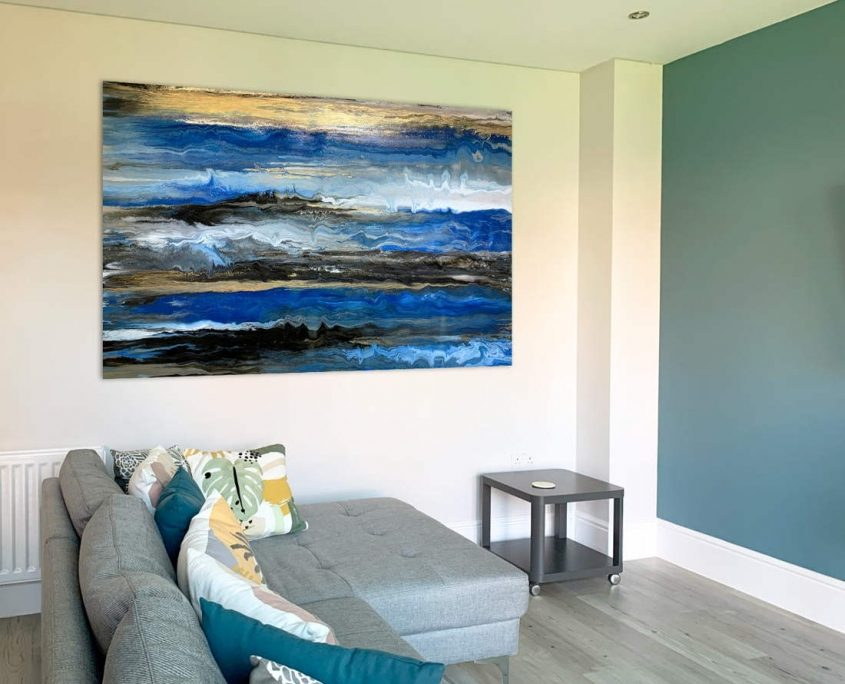 blue and gold painting in a living space
