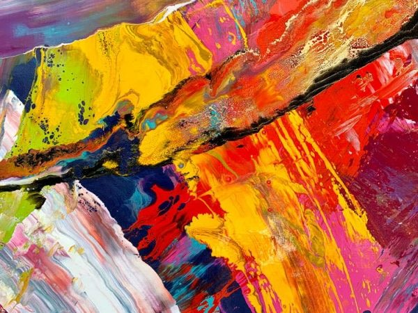close up of abstract paint shapes on canvas