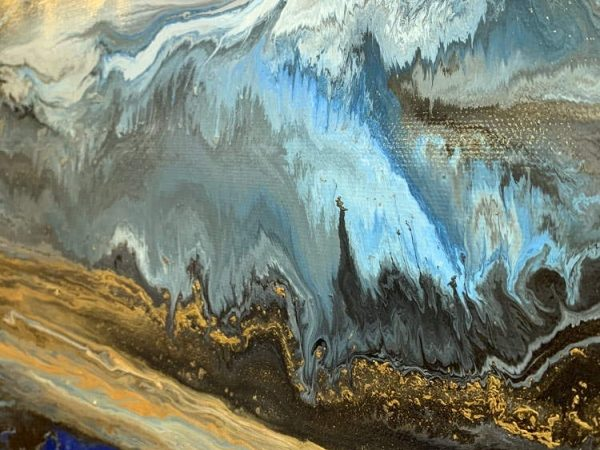 details of blue and gold art