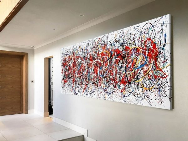huge minimal contemporary art in an entrance hall