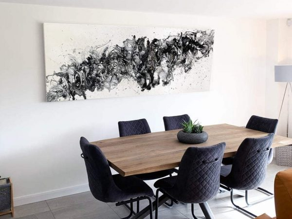 long black and white abstract painting