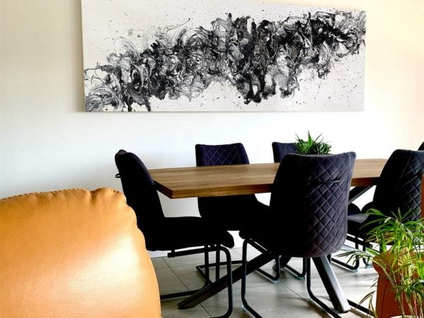 modern art in a dining space