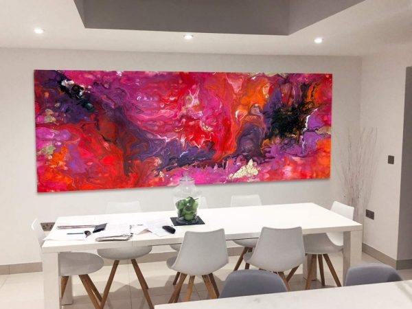 very large modern art in dining room