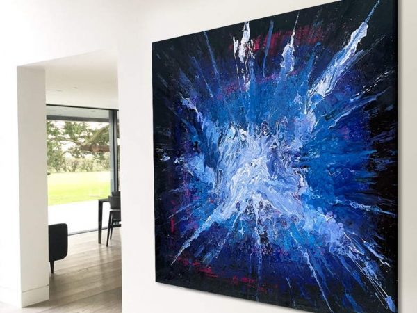 blue black and white abstract art