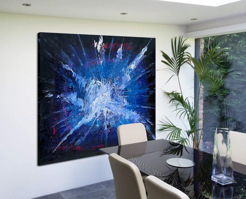 blue black and white modern art by dining table