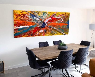 orange and gold art in a dining room