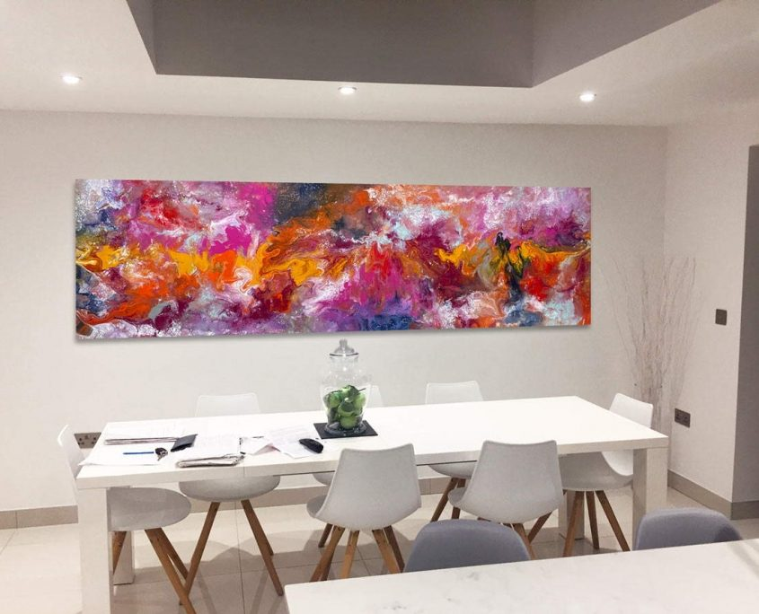 very long painting and dining table