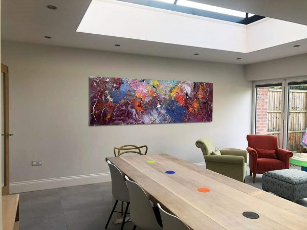 big open plan space with art hanging