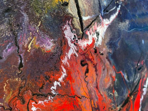 fiery red paint on a painting
