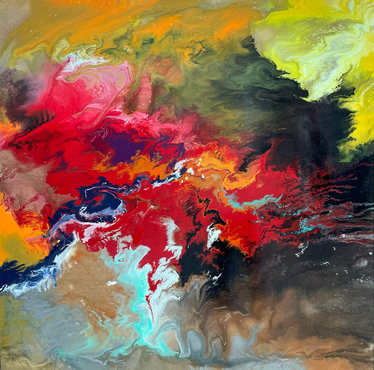 Red Dawn contemporary painting by Swarez Art