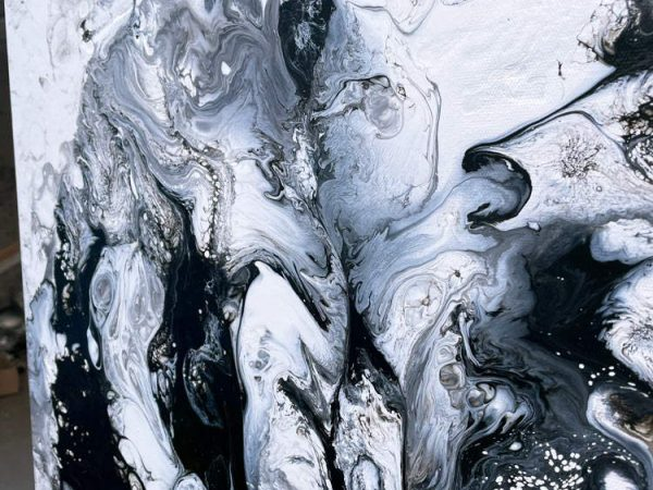 black and white paint on canvas