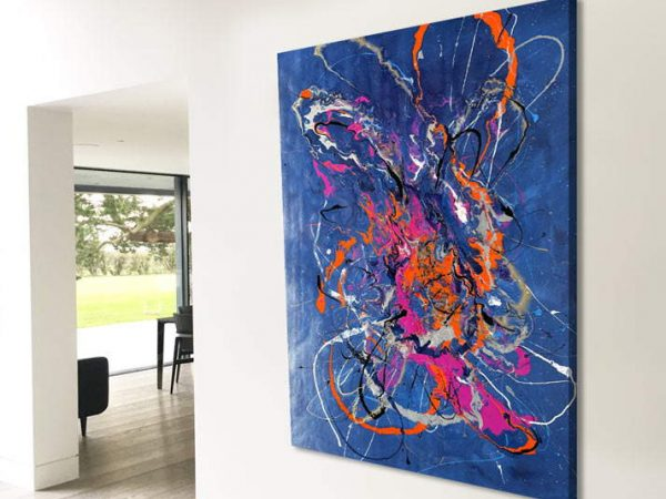blue and orange art in large open space