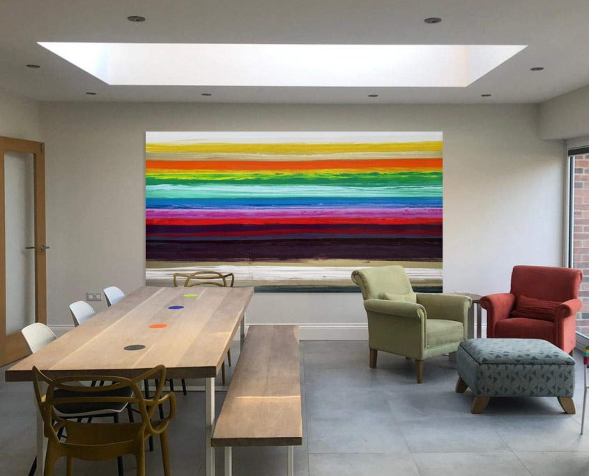 large coloured art in open space
