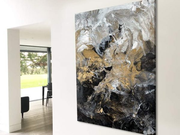 large gold and black abstract art