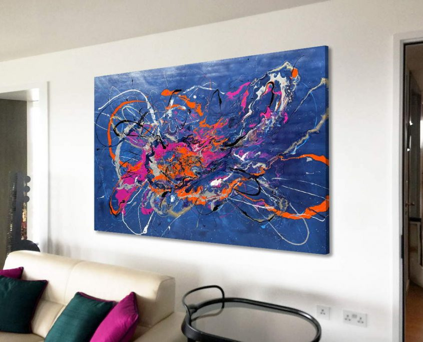 large modern painting in blue and orange
