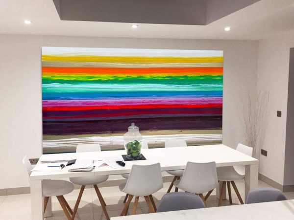 multi colored art on wall