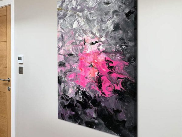 portrait painting with pink colours