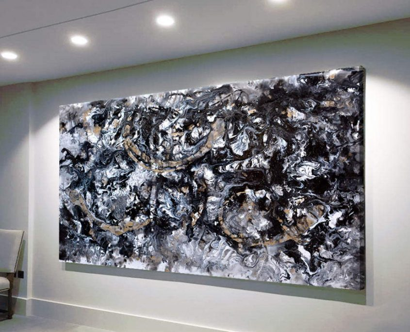 very large black and gold painting