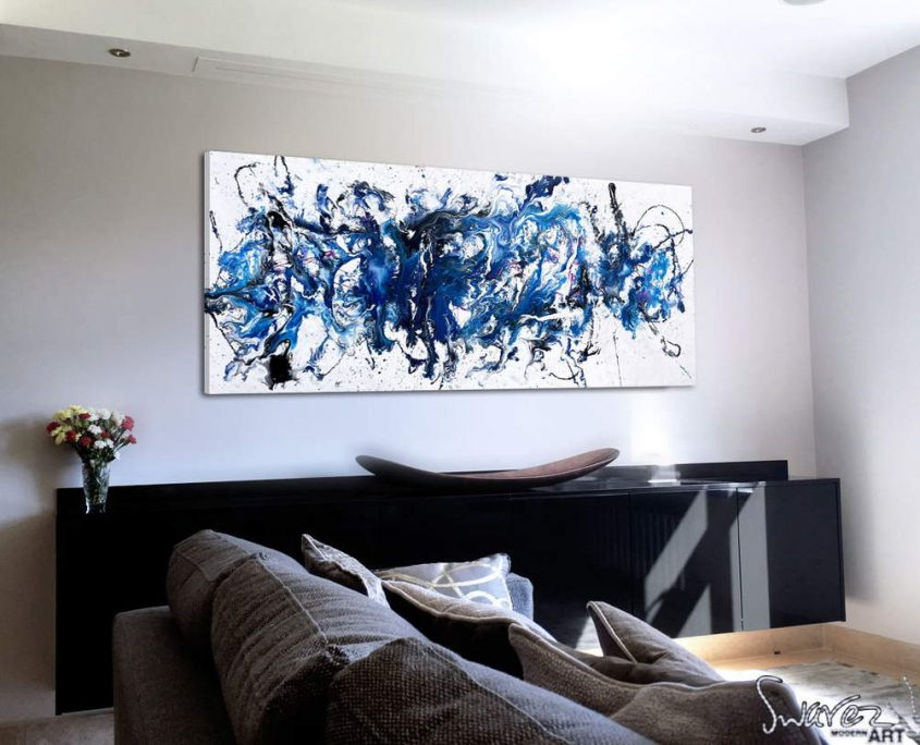 Black-and-blue-abstract-art-in-a-living-room