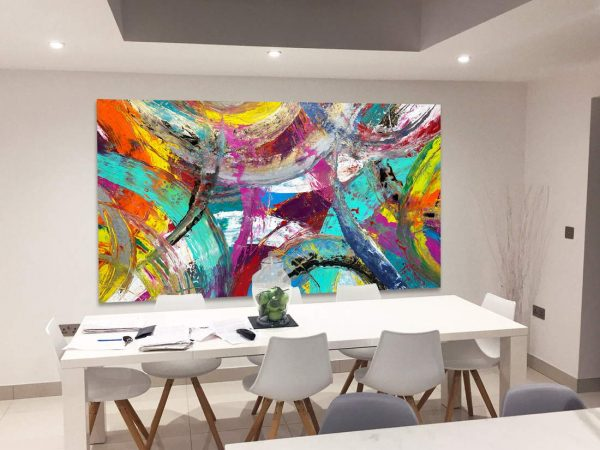 large art above dining table