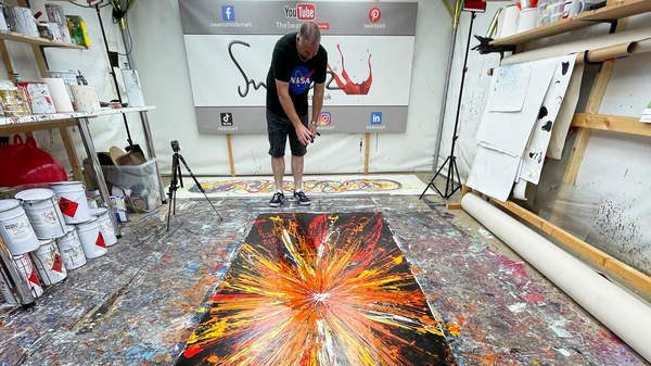 exploding sun painting