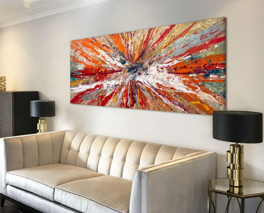 gold sofa with orange and gold art above