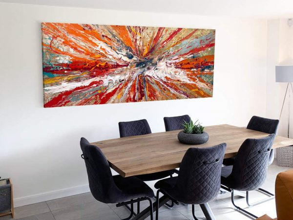 large modern art in a dining room