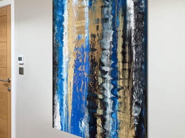 portrait abstract with blue and gold theme
