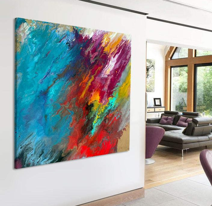 square multi coloured abstract painting