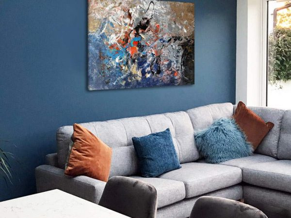 abstract art for a blue wall