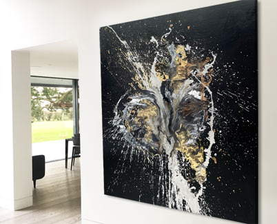 black and silver painting
