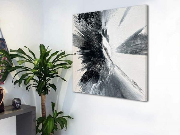black and white art on a white wall