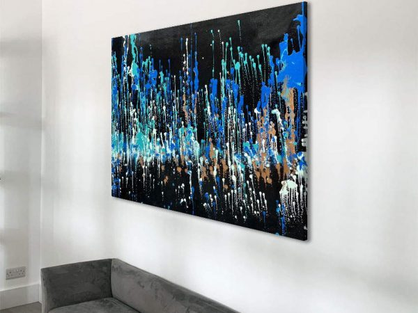 blue and copper painting on a wall