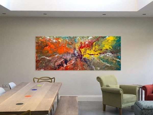 long colourful painting in a big open space