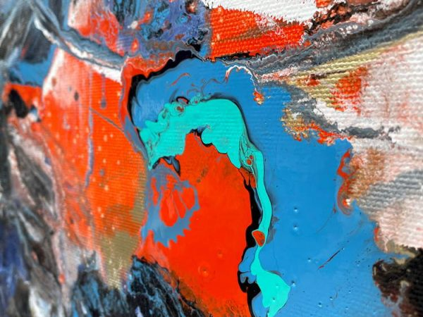 orange and blue paint on canvas