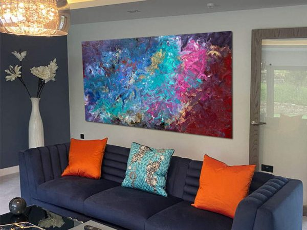big abstract artwork in a modern living room