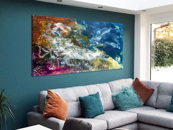 large abstract resin painting