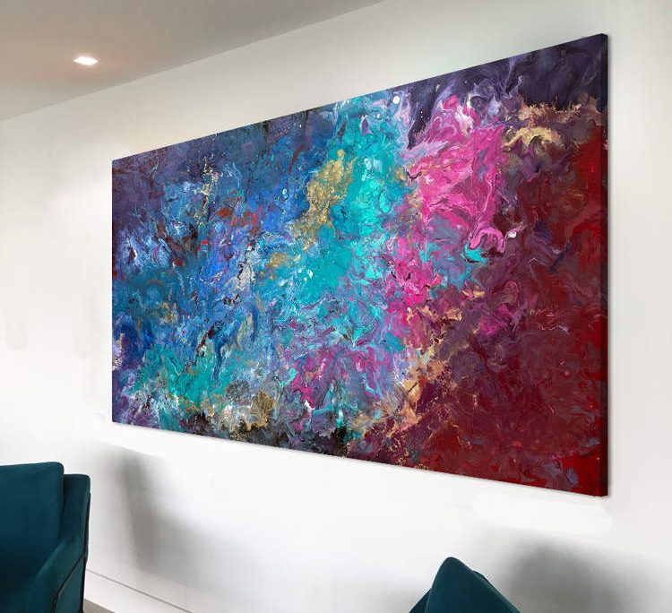 maroon and turquoise painting on a wall