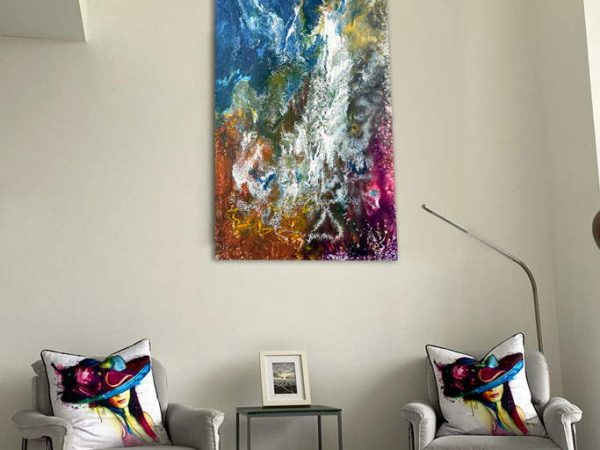 tall portrait abstract painting on a wall
