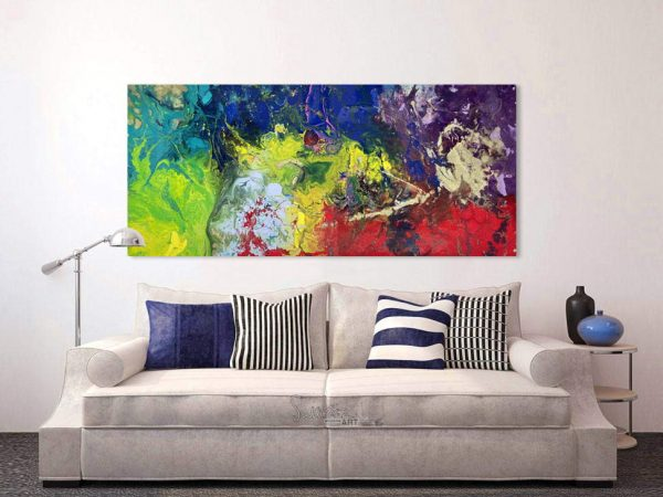bright colored painting above sofa