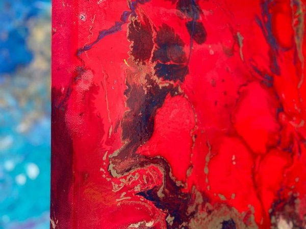 red corner of painting